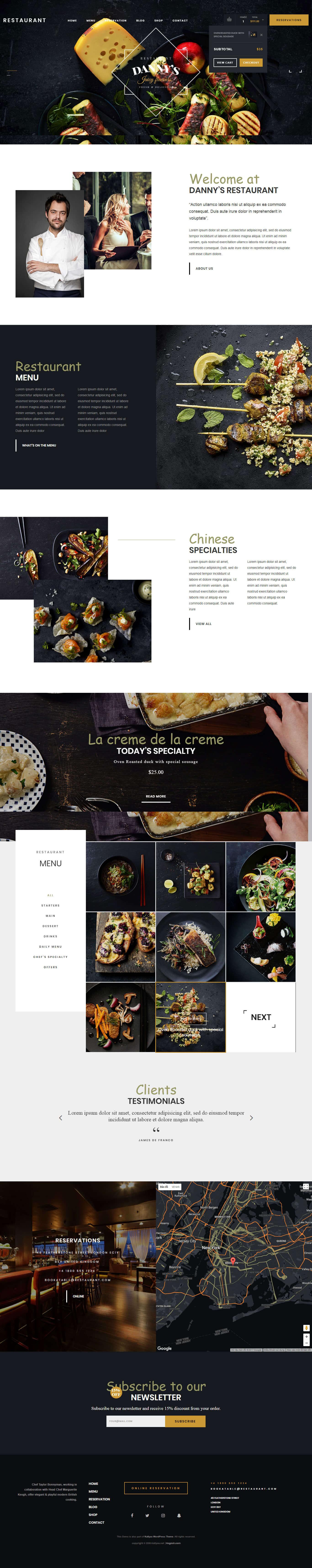thiết kế website nhà hàng danny