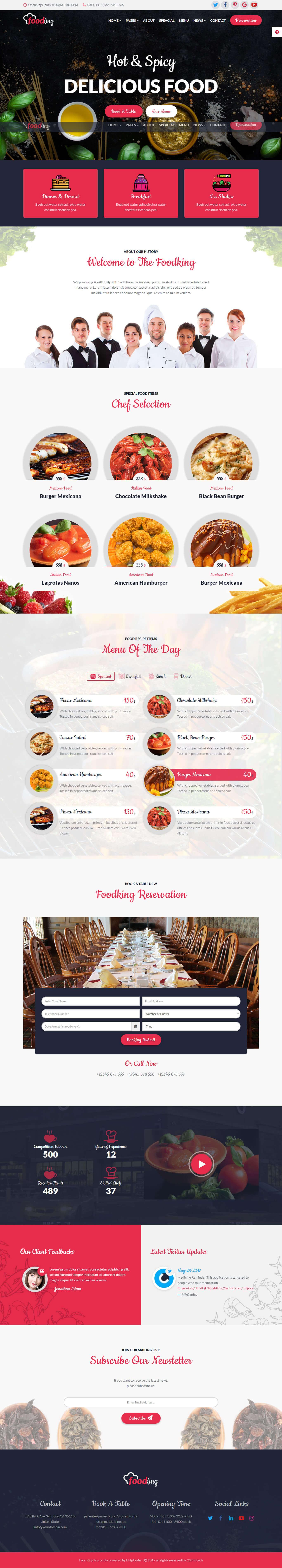 thiết kế website nhà hàng foodking