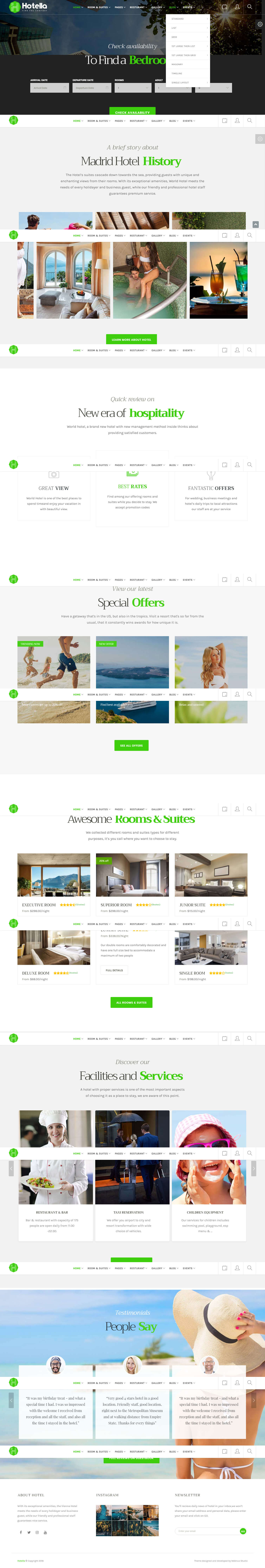 thiết kế website nhà hàng, khách sạn madrid