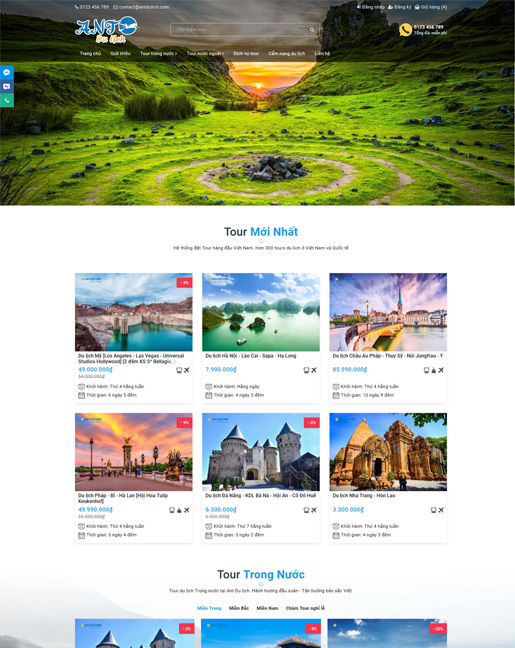 website bán hàng Ant Du lịch