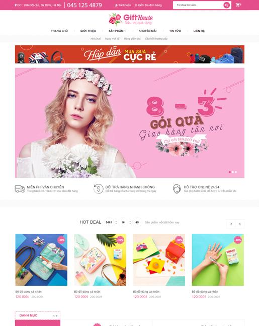 website bán hàng Gift House