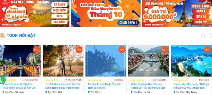 Đặt tour với website vinavivu.vn