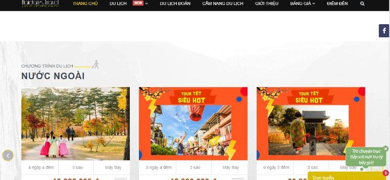 website đặt tour du lịch của haidangtravel