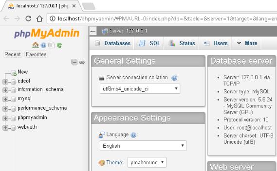 Tạo cơ sở dữ liệu trên localhost.