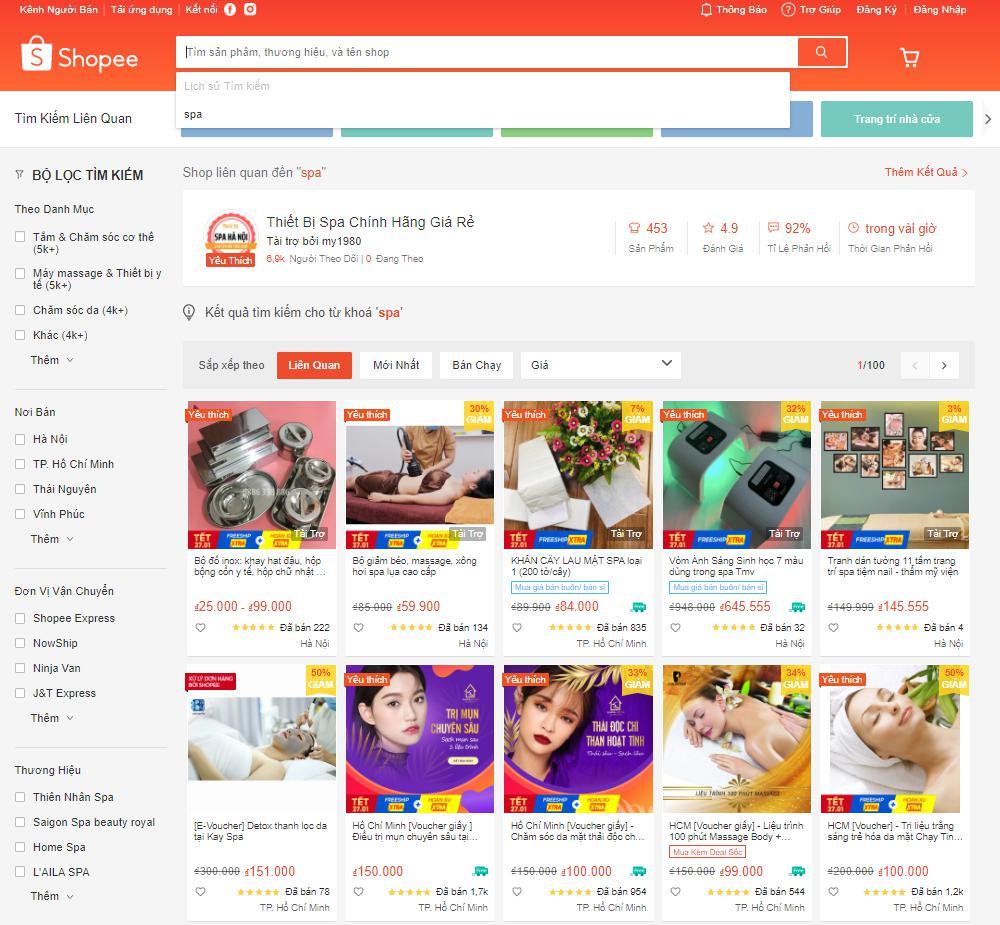 thiết kế website spa thương mại điện tử