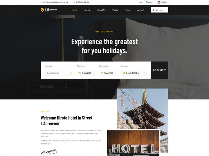 Mẫu thiết kế website khách sạn Hiroto