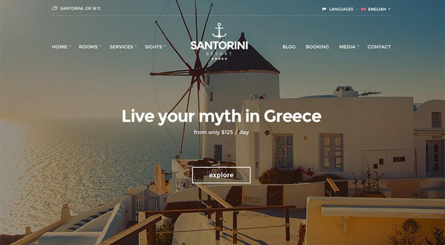 Mẫu thiết kế trang web Santorini Resort