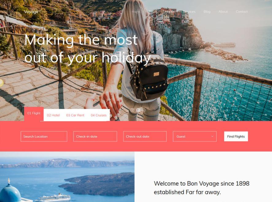 Mẫu thiết kế website khách sạn Voyage