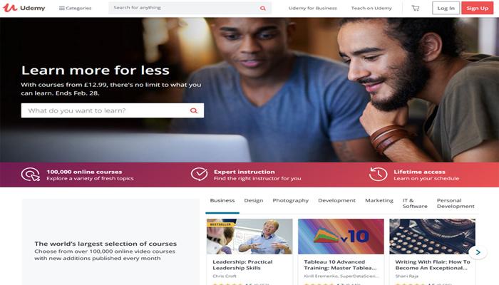 Trang tự học thiết kế web - Udemy